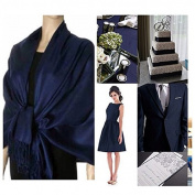Navy Blue Pashmina Scarf Shawl / Bridesmaid Shawl / Wedding Favour / Spring Summer Wedding /