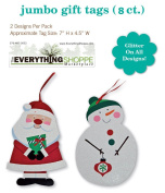 Jumbo Christmas Gift Tags Embelished with Glitter and Holiday Present Name Tags 8 Big Ribbon Hangers in 2 Assorted Designs Santa and Snowmanman