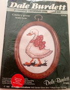 Country goose with bow, a country Christmas cross stitch kit