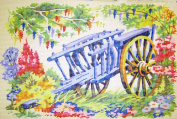waggon IN THE FLOWER GARDEN NEEDLEPOINT CANVAS