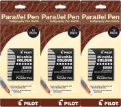 Pack of 3 Pilot Parallel Pen Ink Refills for Calligraphy Pens, Black, 12 Cartridges per Pack