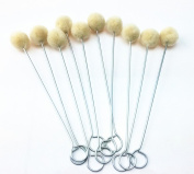 Pack of 10 Wool Daubers with Metal Handle for Leather Dyes, Sealers by Blovess