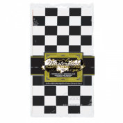 Pack of 12 Black and White Chequered Disposable Plastic Rectangular Decorative Table Covers 270cm