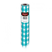 Teal and White Gingham Disposable Plastic Banquet Party Table Roll 30m