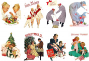 Stickers (8pics 6.4cm x 8.9cm ea) Vintage Christmas Happy Family FLONZ Craft