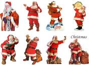 Stickers (8pics 6.4cm x 8.9cm ea) Vintage Christmas Santa Happy FLONZ Craft