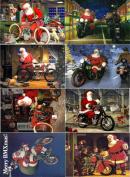 Stickers (8pics 6.4cm x 8.9cm ea) Vintage Christmas Santa Biker FLONZ Craft