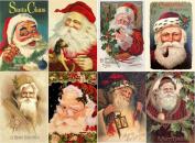 Stickers (8pics 6.4cm x 8.9cm ea) Vintage Christmas Santa Smile FLONZ Craft