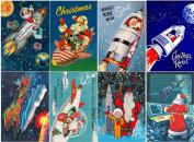 Stickers (8pics 6.4cm x 8.9cm ea) Vintage Christmas Santa Rocket FLONZ Craft