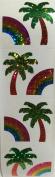Glitter Rainbow Palm Tree Stickers - 2 Sheets