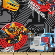 """1/2 Yard - """"Teletraan & Optimus Prime in Action"""" Transformers on Black Fabric - Officially Licenced (Great for Quilting, Sewing, Craft Projects, Quilts, Throw Pillows & More) 1/2 Yard X 110cm Wide"""