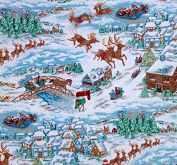 "1/2 Yard - ""New Fallen Snow"" Christmas Santa & Sleigh Cotton Fabric (Great for Quilting, Sewing, Craft Projects, Quilts, Throw Pillows & More) 1/2 Yard X 110cm Wide"