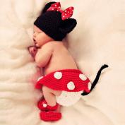 AutumnFall® 3pcs Girl Infant Baby Hat+Skirt+Shoes Crochet Knit Photo Prop Costume