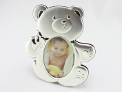 Skyway Baby Teddy Bear Photo Picture Frame Keepsake - Silver
