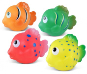 Puzzled Bath Buddies Collection - Orange, yellow, green and pink Reef Fish, Set of 4