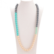 Consider It Maid Baby/Toddler Silicone Teething Necklace - BPA Free and FDA Approved - Organic Natural Teether - Life is Good Collection (Grey/Turquoise/Navajo White/Mint