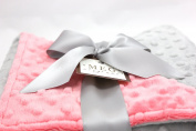 MEG Original Coral & Silver Grey Minky Dot Blanket for Baby Girls