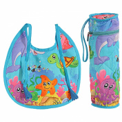 Digitally printed 300 TC Cotton Quilted Bib And Bottle Cover Set For Infant Kids-Water World