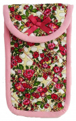 Fabric Eyeglass Case Holder with hook and loop Closure, Size 9.4cm X 15cm , Flower Print
