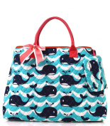 NGIL Coral Whale Wave Print Quilted Shopping Tote