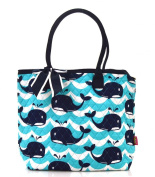 NGIL Navy Whale Splash Print Quilted Tote