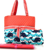 NGIL Coral Whale Wave Splash Print Quilted Nappy Bag