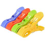 HITREE 4 PCS Large Multi-Colour Plastic Beach Towel Clothes Pins