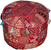 Round Patchwork Embroidered Multi Ottoman Pouffe Bohemian Indian Decorative, Size 16 X 41cm X 30cm