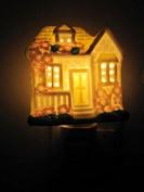 A.Shine Fairy Tale House Shape Plug-in Porcelain Night Light Baby Bedroom Ceramic Night Lamp