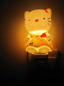 A.Shine Yellow Lovely Hello Kitty Small Porcelain Ceramic House Nightlights Night Light Wall Lamp With Plug Switch for Children Kids Bedroom Decoration