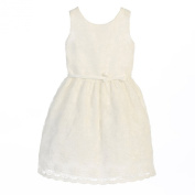 Sweet Kids Baby Girls Off White Flower Embroidered Special Occasion Dress 6-24M