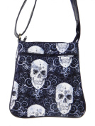 "US HANDMADE FASHION CROSS BODY ""SHINY METALIK SKULLS"" PATTERN SHOULDER BAG WITH ADJUSTABLE HANDLES, COTTON, NEW, CSOP 1049"