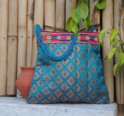 Turquoise Silk Brocade Evening Bag with Beads By Sitara Collections®