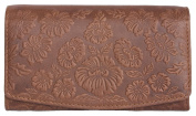 Women's Brown Genuine Leather Wallet with Ornamental Flower Stamping