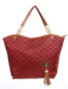Ladies Zipper Closure Number Panel Tassels Detail Chain Handbags Red
