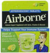 Airborne Effervescent Health Formula Tablets, Lemon-Lime, 3 Packs of 10, 30 Count