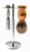 Classic Samurai 205S Safety Razor Shave Set - Includes Pure Badger Brush, Stand & Classic Samurai CS-205 Travel Double Edge Safety Razor Chrome Plated with Free Leather Case and 5 ASTRA Superior Platinum Razor Blades