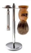 Classic Samurai 202S Safety Razor Shave Set - Includes Pure Badger Brush, Stand & Classic Samurai CS-202 Short Handled Safety Razor and 5 ASTRA Superior Platinum Razor Blades