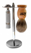 Classic Samurai 204S Safety Razor Shave Set - Includes Pure Badger Brush, Stand & Classic Samurai CS-204 Short Handled Safety Razor and 5 ASTRA Superior Platinum Razor Blades