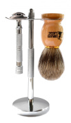 Classic Samurai 203S Safety Razor Shave Set - Includes Pure Badger Brush, Stand & Classic Samurai CS-203 Long Handled Safety Razor and 5 ASTRA Superior Platinum Razor Blades