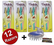 Tinkle Eyebrow Razor for Beautiful Eyebrows (12pcs) + COTU ® Deluxe Shampoo Massage Brush