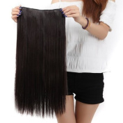 """Sexy Forever 30""""(76cm) Straight Dark Brown Hairpiece 3/4 Full Head One Piece 5 Clips Clip In Hair Extensions Elegant Useful for Gifts"""