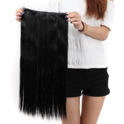 """Sexy Forever 30""""(76cm) Straight Dark Black Hairpiece One Piece 5 Clips Clip in Hair Extensions Elegant Useful for Gifts"""