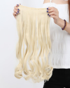 """Sexy_Forever 29""""(73cm) Wavy Curly Bleach Blonde Hairpiece 3/4 Full Head One Piece 5 Clips Clip In Hair Extension Extensions"""