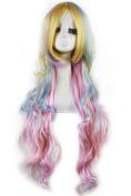 86cm Long Zipper Multi-colour Wave Anime Cosplay Wig Cb33