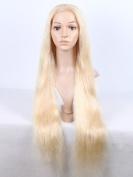 613# blonde human hair silky straight full lace wig