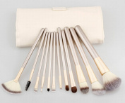 MZL Makeup Brush Set Professional 12 Pieces Champagne Handle Blending Blush Eyeliner Face Liquid Powder Cream Cosmetics Brushes Kit With Bag,White