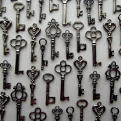 Skeleton Key Charm Set in Gunmetal Black (48 Charms) 6 Different Styles - Vintage Style Key Charms