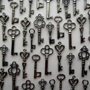 Skeleton Key Charm Set in Gunmetal Black (48 Charms) 6 Different Styles - Vintage Style Key Charms