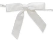 12 White 5.1cm Pre-tied Satin Gift Bags Basket Bows 10cm - 1.3cm Twist Ties~ 1cm Ribbon